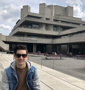CU Theatre student Anthony Raddi in front of National Theatre