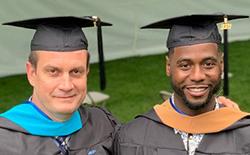 Head Basketball Coach Jasoon Geleski, left, and Assistant Coach Paul Jones earned master's degrees at Centenary University's 2021 Commencement.